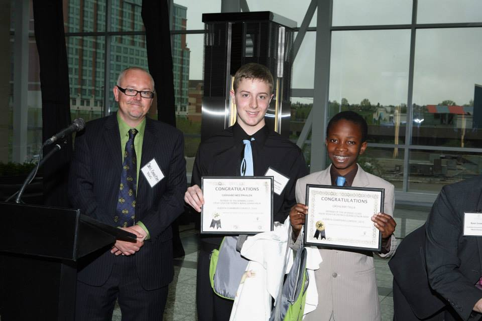 Chris Gerritsen, Media Relations With TELUS, Presenting Prize To Gerhard Westphalen, Gbohunmi Tella, Representing Winning Class Of Ms Choo, Senator Patrick Burns Junior High