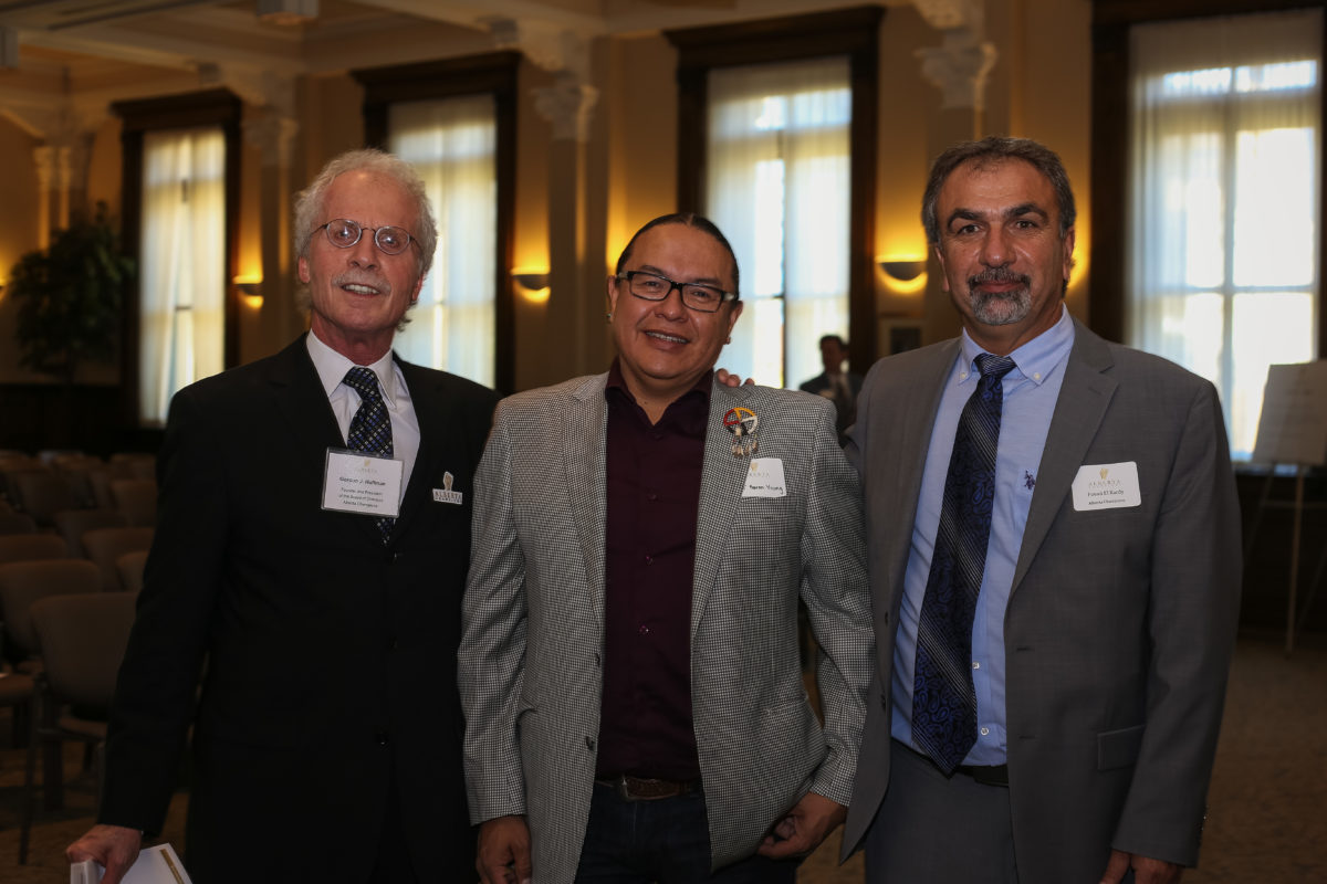 Fouad Elkardy And Gord Hoffman From Alberta Champions Board With Chiniki Chief Aaron Young