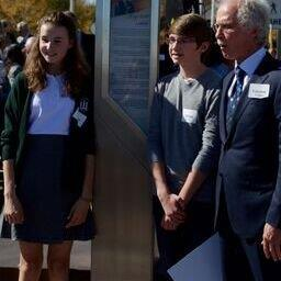 Gordon Hoffman Unveiling Wilf Carter's Monument With Student Contest