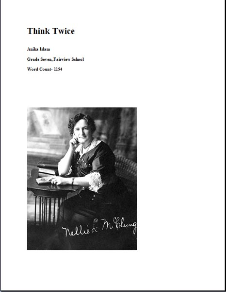 essay on nellie mcclung Writework is the biggest source online where you can find thousands of free school & college essays, research & term papers, book reports in over 190 categories.