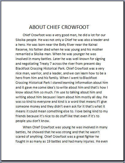 Alicia Youngman-essay on Chief Crowfoot
