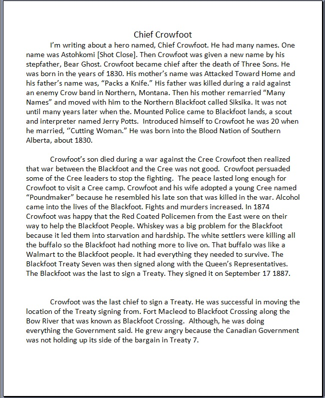 Genna Little Light-essay on Chief Crowfoot