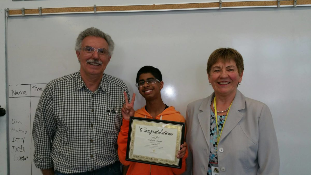 Ibraheem Uthman (Grade 8 Queen Elizabeth School) and Teacher Mr Budd, for multimedia presentation about Colonel Macleod, and Pat Christie, Executive Administrator, Alberta Champions
