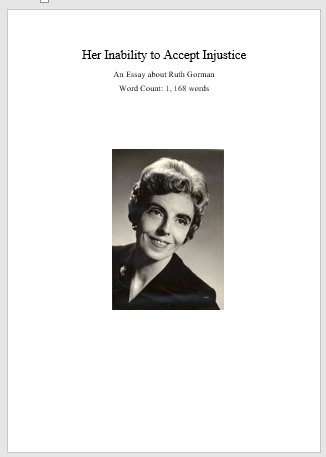 Essay by Salma Zein about Ruth Gorman