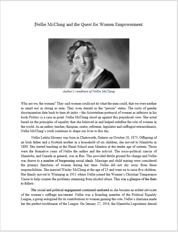 Nellie McClung Quest for Empowerment, by Maha Khan