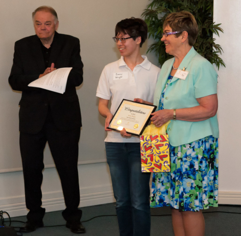 Emmy Wright receiving Grade 7-9 First Prize and plaque.jpg