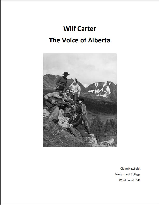 CLICK TO VIEW essay by laire Hawboldt about Wilf Carter