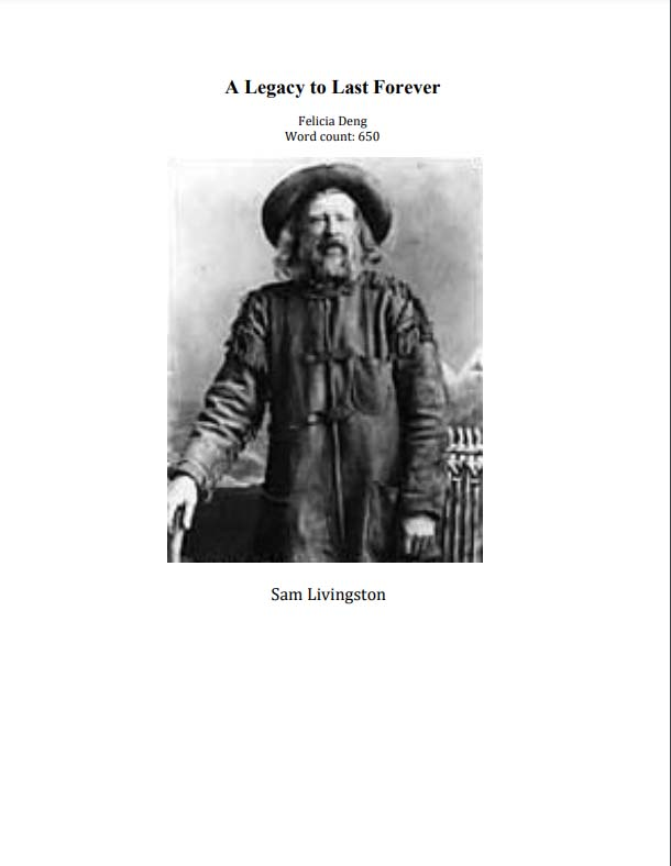 CLICK TO VIEW essay by Felicia Deng about Sam Livingston